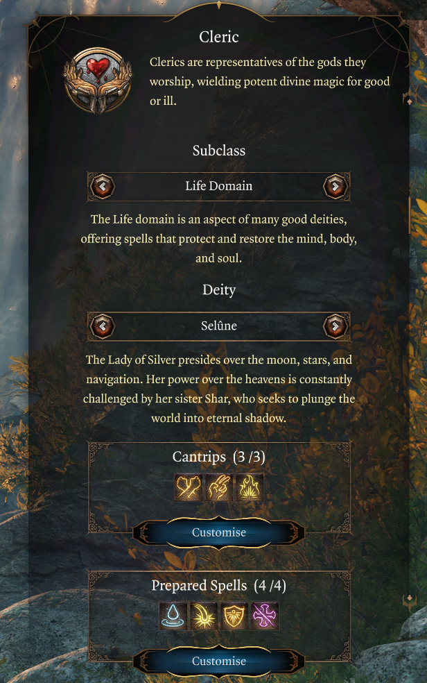 BG# Cleric Starting Abilities